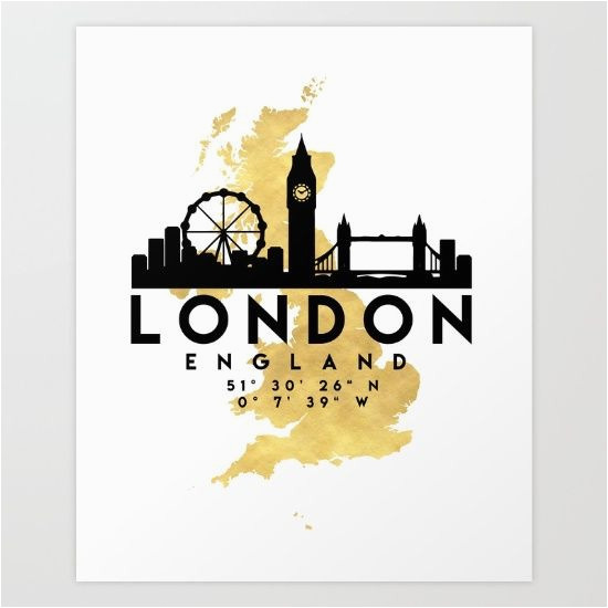 london england silhouette skyline map art the beautiful
