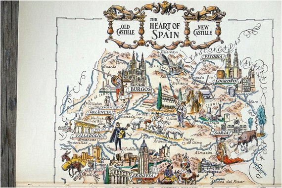 vintage spain map showing madrid spain and toledo travel wall