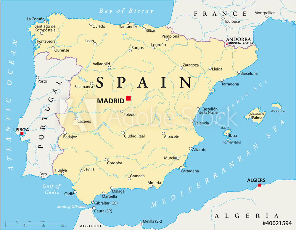 fotografie obraz spain political map with the capital madrid