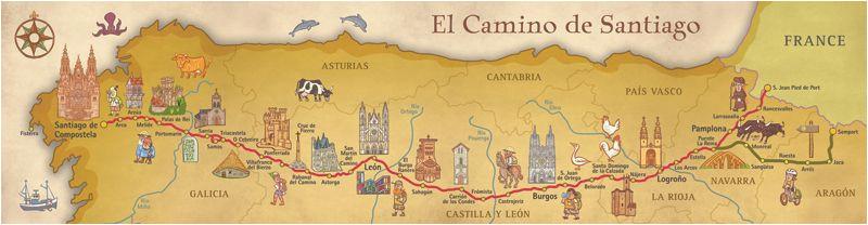 camino frances de santiago pilgrim souvenir poster map in