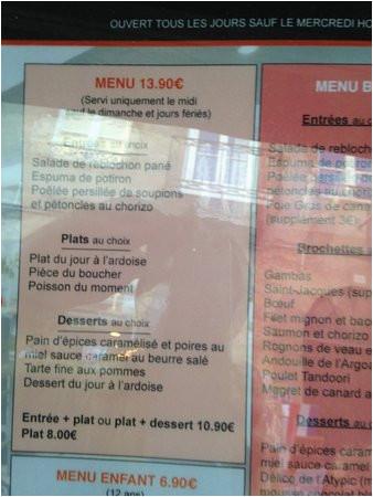 le menu a 13 90 picture of atypic dinan tripadvisor