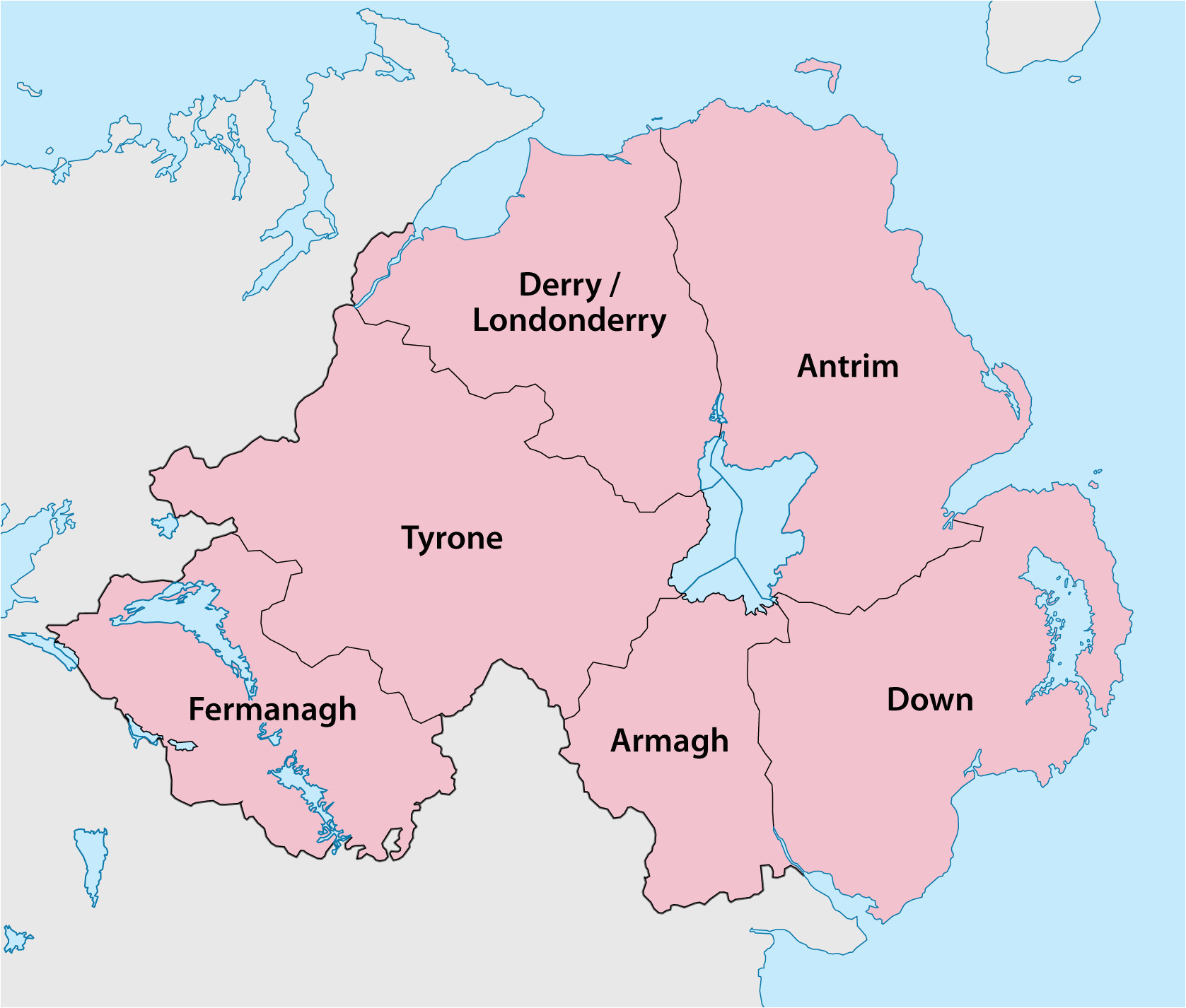 Map northern Ireland Counties Counties Of northern Ireland Wikipedia