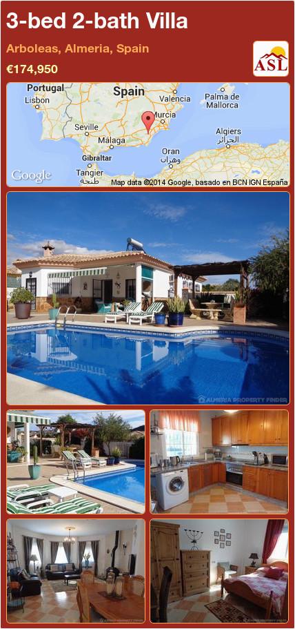 3 bed 2 bath villa in arboleas almeria spain a 174 950