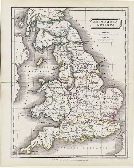 1825 antique map of ancient great britain original antique map