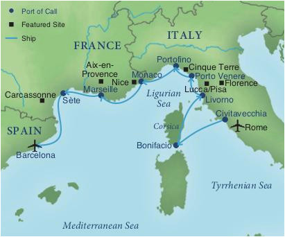 map of italy and surrounding areas cruising the rivieras of