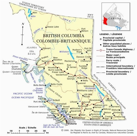 political map of british columbia province bc color map
