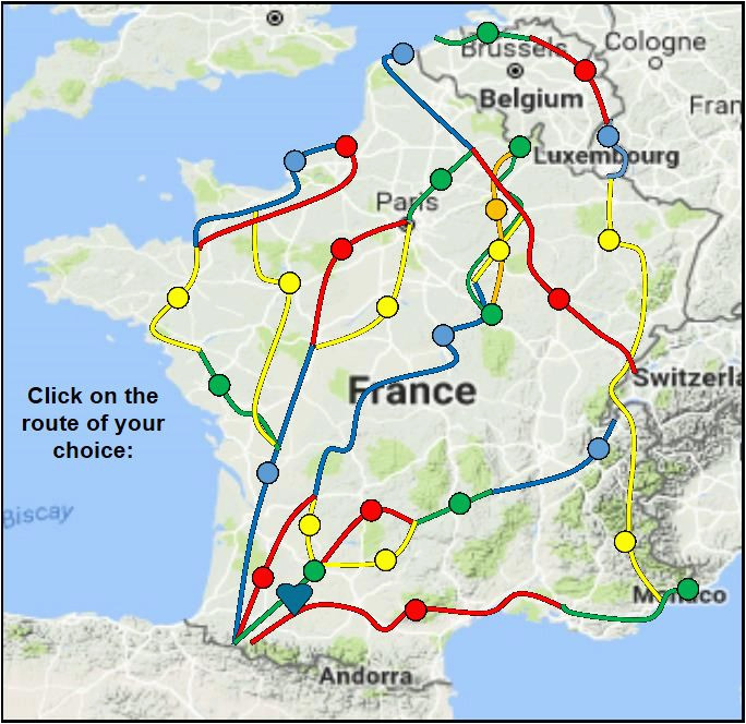 index map of chemins de st jacques and other long distance