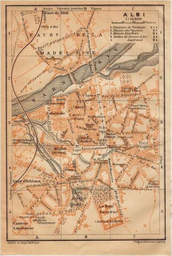 1914 albi france antique map vintage lithograph tarn