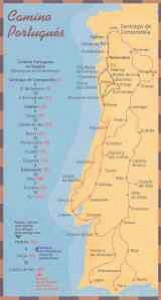 mapas e guias do caminho portuguaas de santiago dobrar