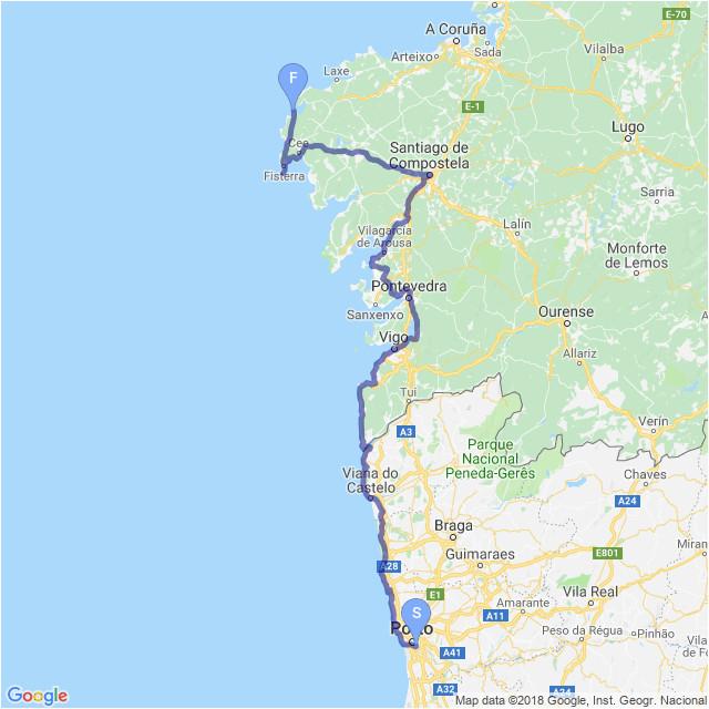 portugal camino coastal map el camino in 2019 camino