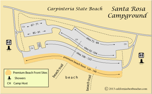 map of santa rosa campground in carpinteria state beach ca