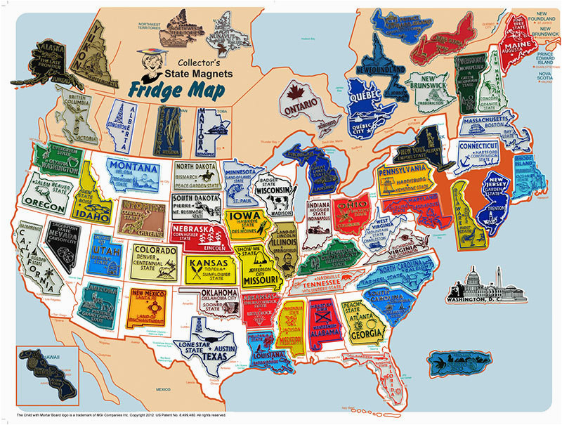 usa canada magnet set with free usa fridge map