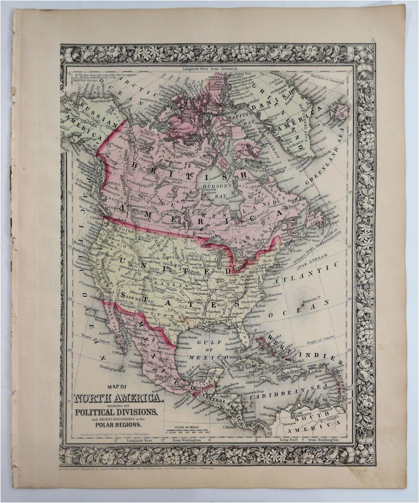 details about 1860 mitchell s huge hand tinted colored map of north