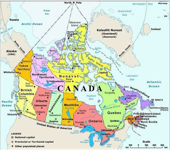 map of canada with capital cities and bodies of water thats easy to