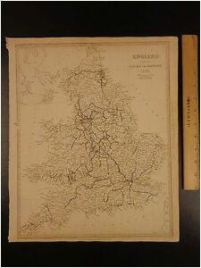 details about 1844 beautiful huge color map of england great britain railroads canals atlas
