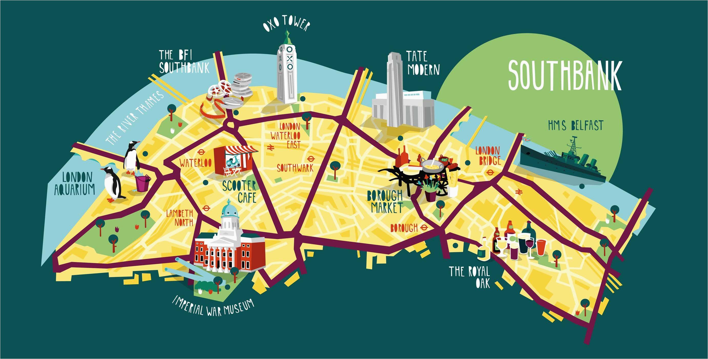 southbank map illustration kerryhyndman co uk map travel