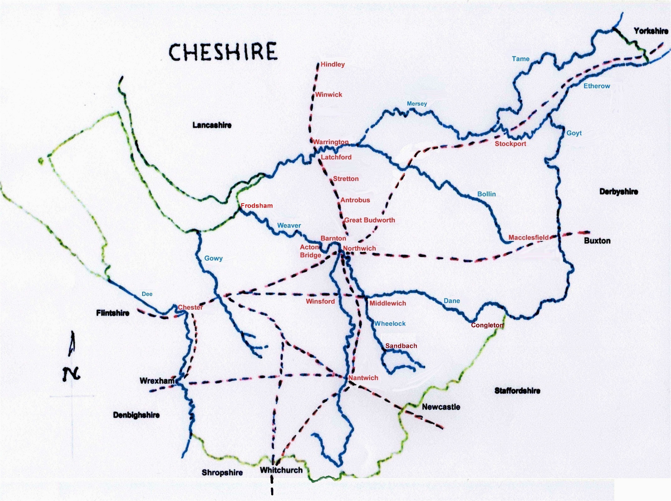 Map Of Cheshire England Deep History Of Cheshire