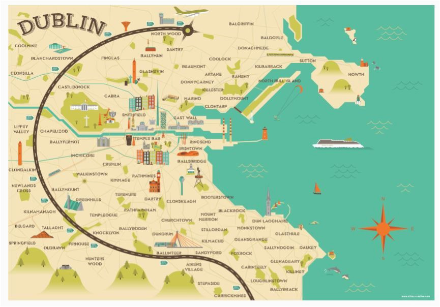 illustrated map of dublin ireland travel art europe by