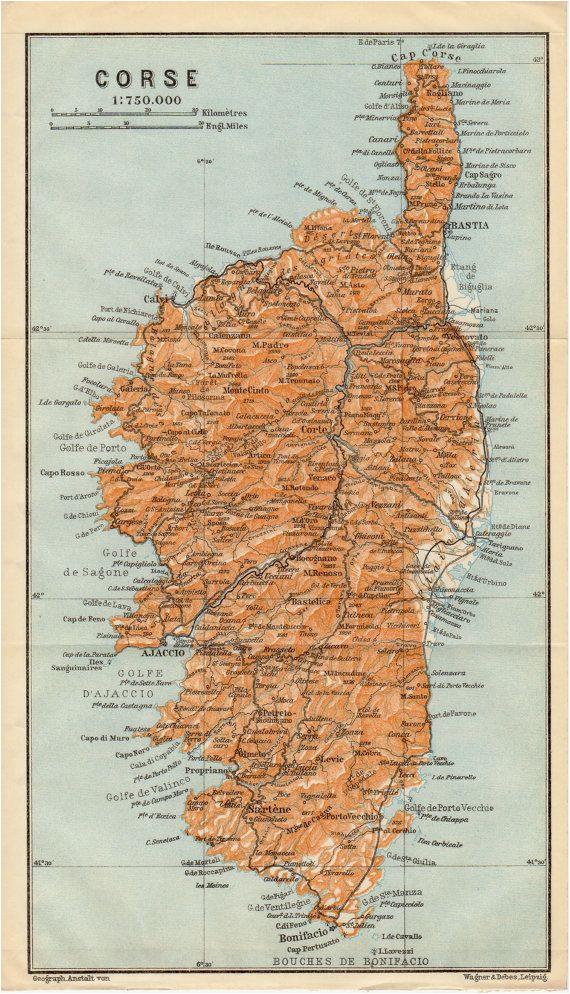 1914 corsica antique map corse corsega france
