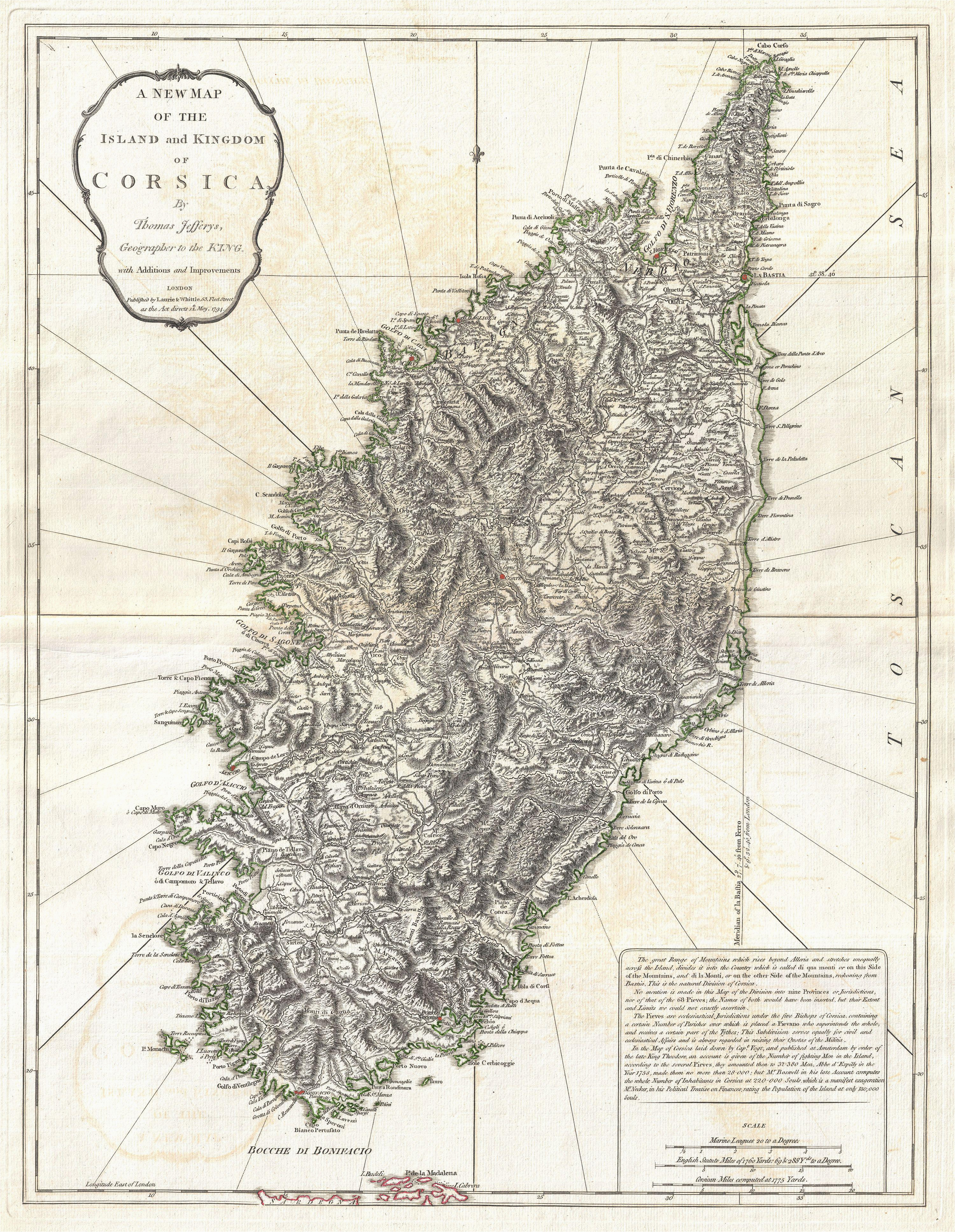 Map Of Corsica France File 1794 Jeffreys Map Of Corsica France Geographicus
