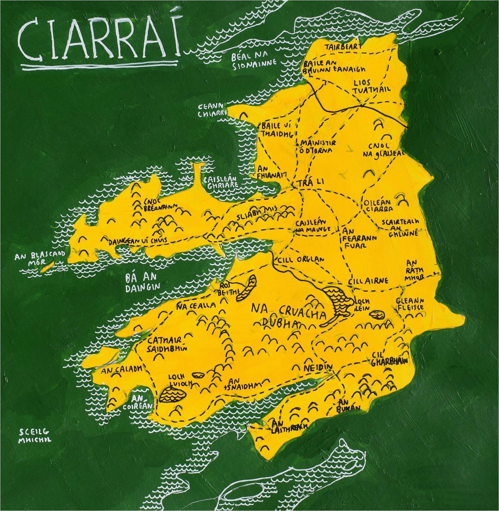 county kerry ireland map art irish language the wee shed