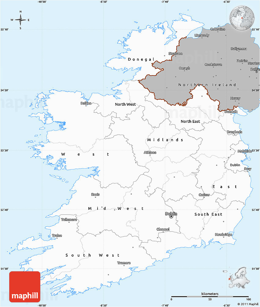 gray simple map of ireland