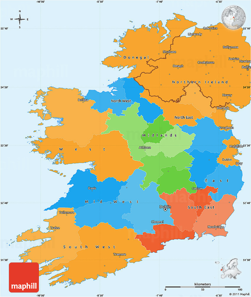 political simple map of ireland