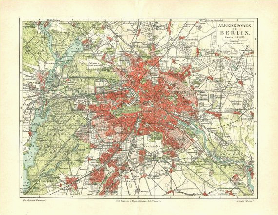 vintage city map of berlin and environs 1920s by