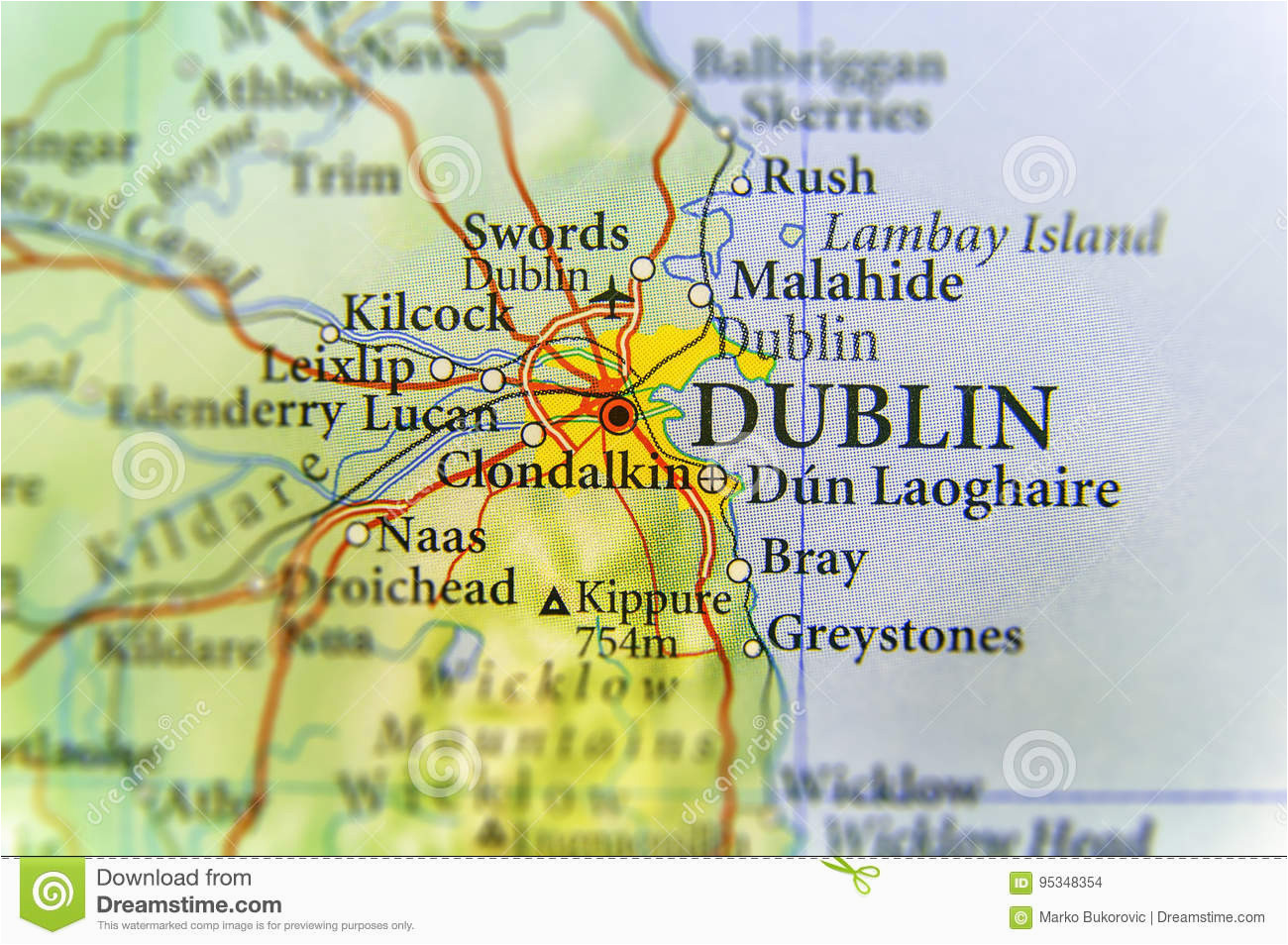 geographic map of european country ireland with dublin capital city