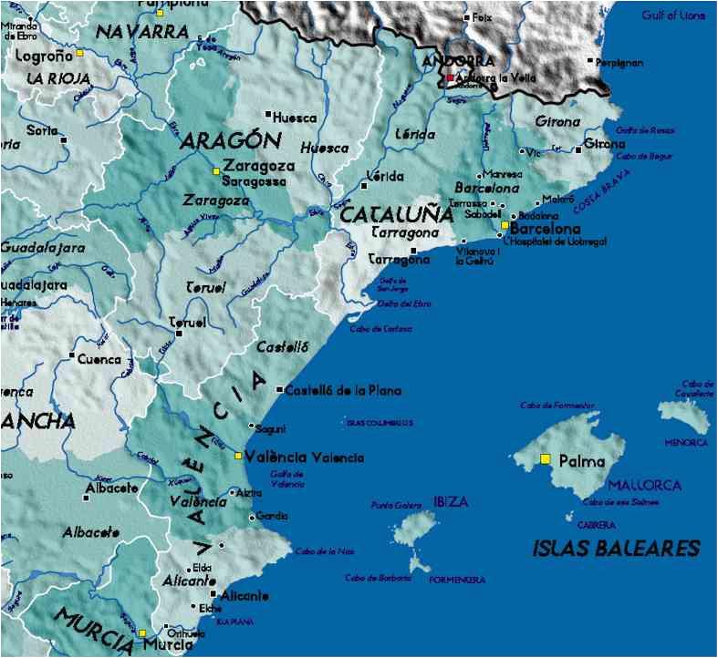 Map Of East Spain Detailed Map Of East Coast Of Spain Twitterleesclub