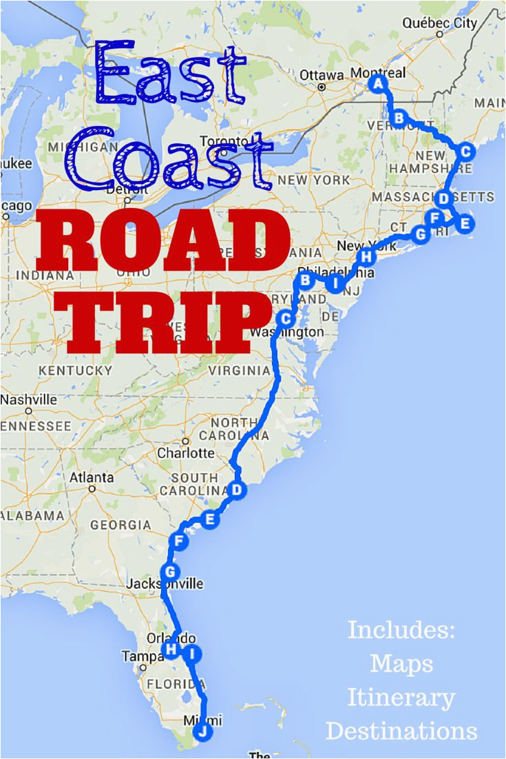 Map Of Eastern Us and Canada the Best Ever East Coast Road ...