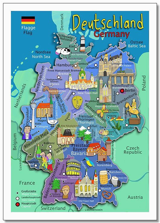 illustrated kids wall map of germany in both german and