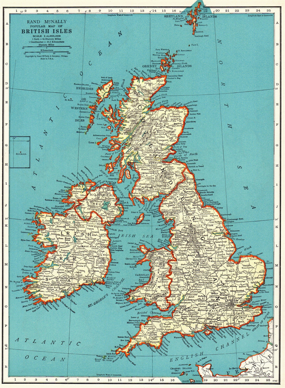 1937 vintage british isles map antique united kingdom map