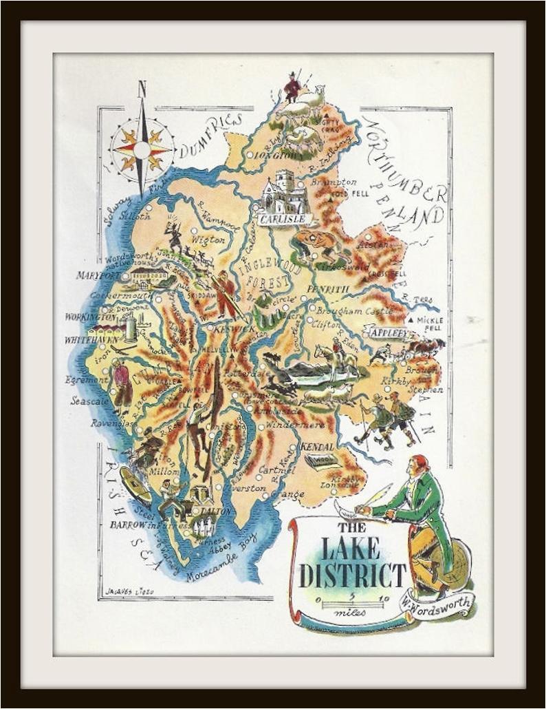england map jacques liozu 1956 lake district wordsworth etsy