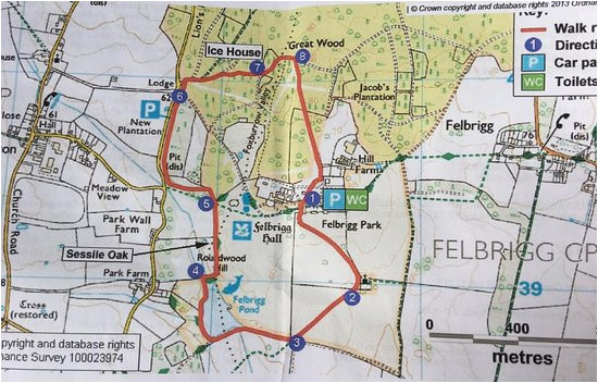 the circular walk route map picture of felbrigg hall