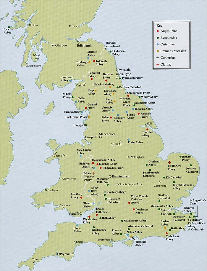 maps showing religious houses in england the tudors