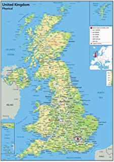 united kingdom uk road wall map clearly shows motorways major