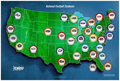 pro football stadium map poster great gift for your football fan