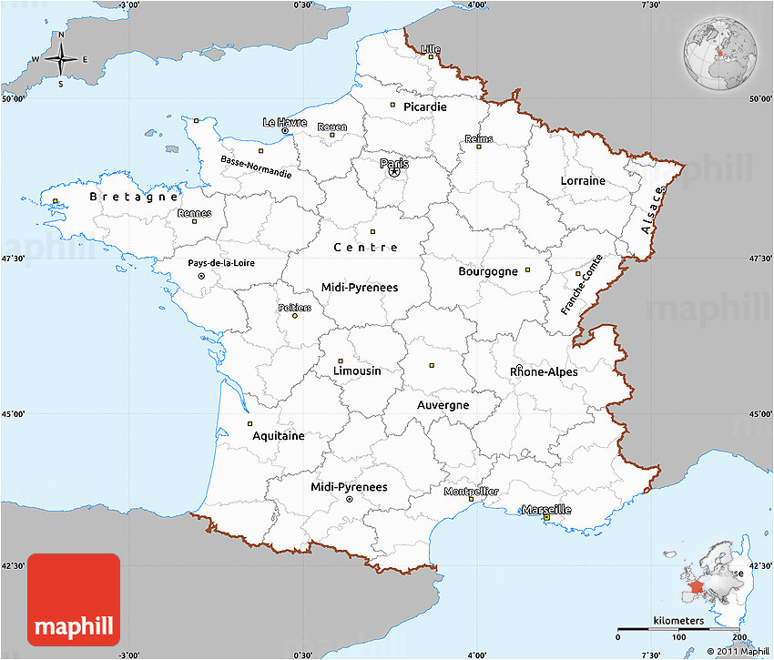 Map Of France and Bordering Countries Gray Simple Map Of France Single Color Outside
