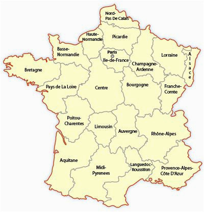 regional map of france europe travel