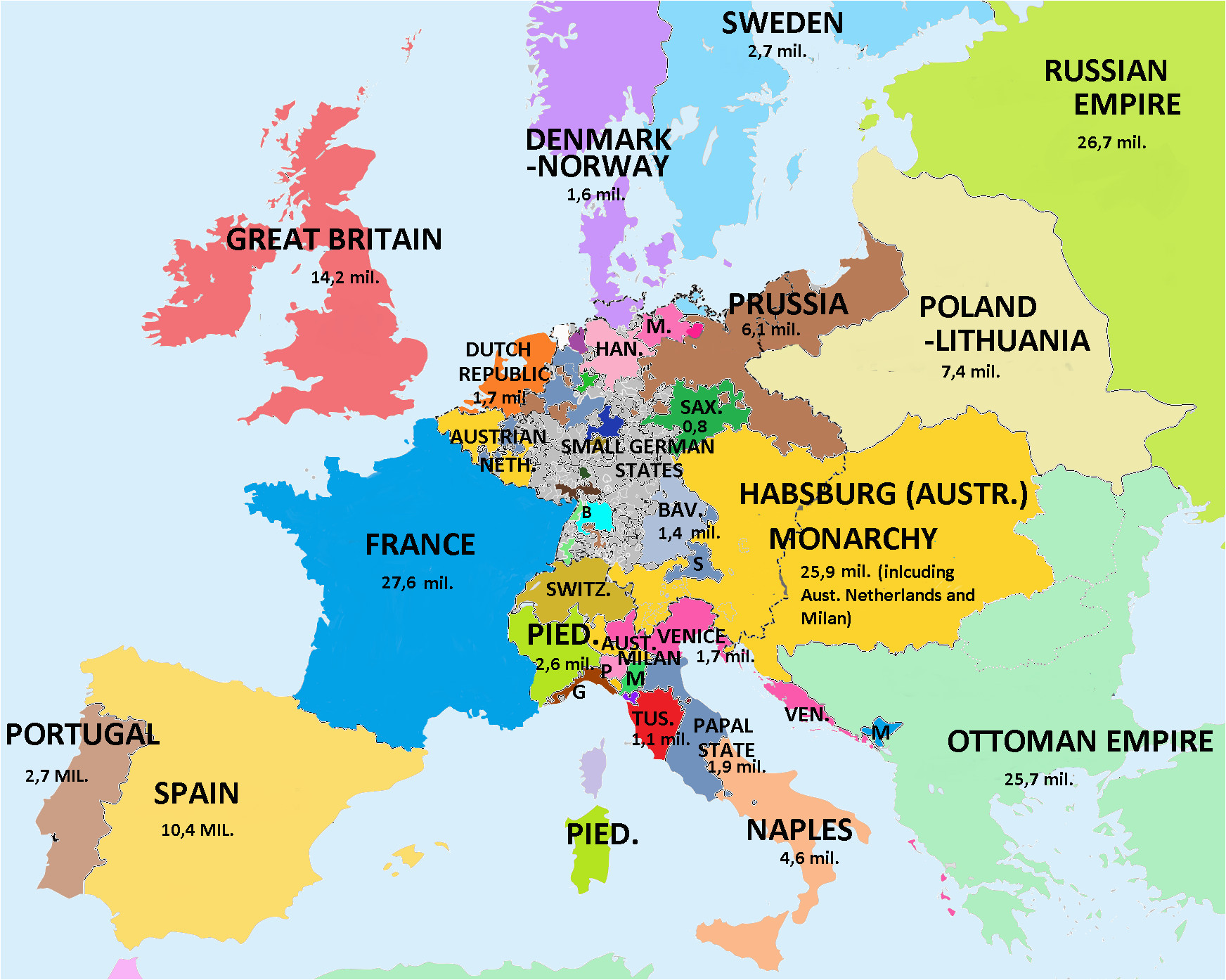 map showing population of european countries 1789 on the eve