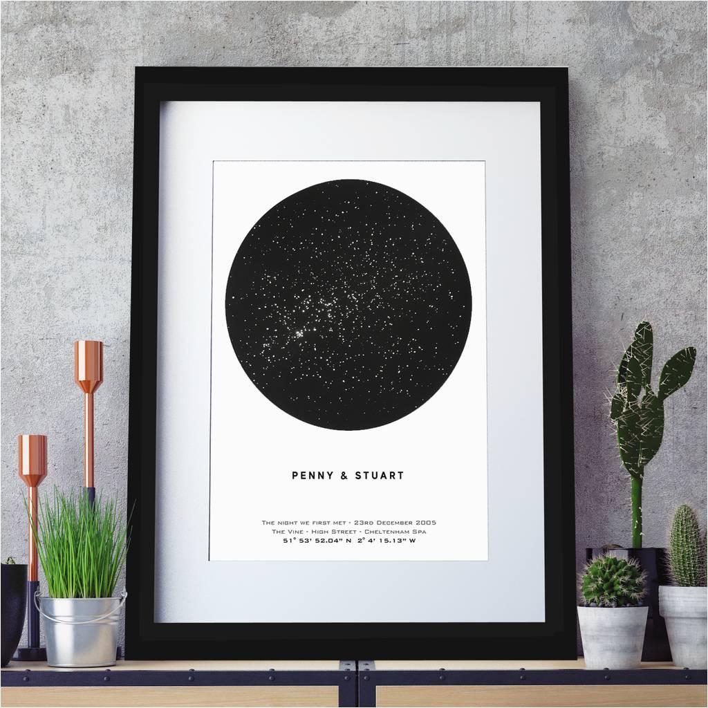 personalised metallic star map print