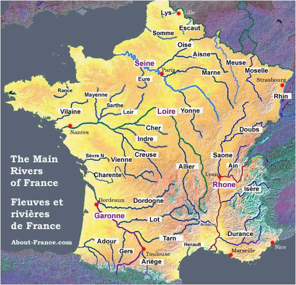map of the rivers in france about france com