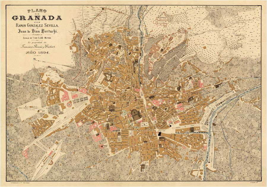granada map old map of granada print on paper or canvas