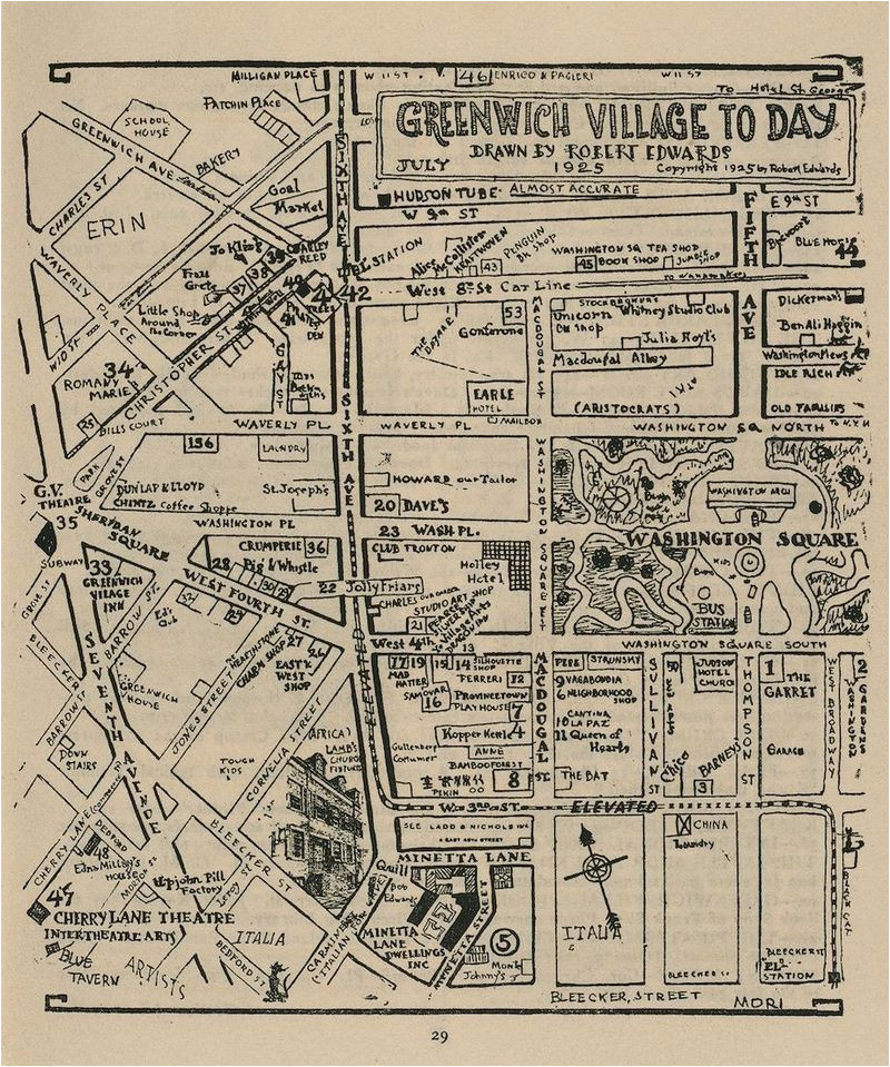 Map Of Greenwich England Hand Drawn Map Of Greenwich Village Nyc From 1925 Ye Old New