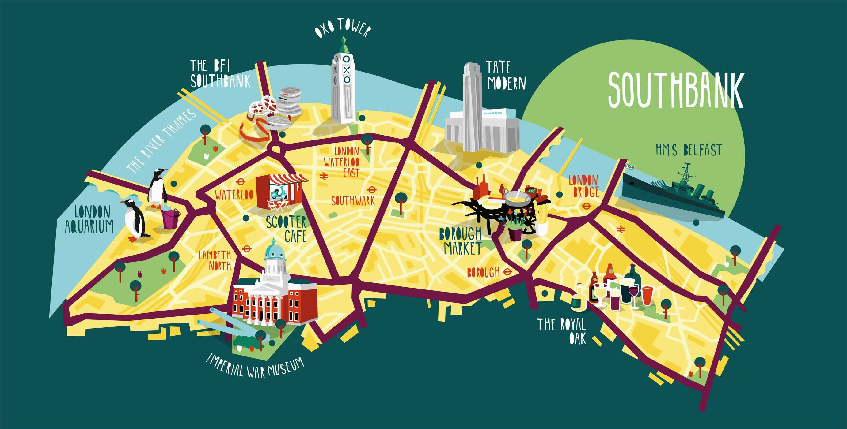 southbank map illustration kerryhyndman co uk map travel