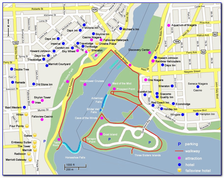 map of niagara falls canada hotels and attractions maps resume