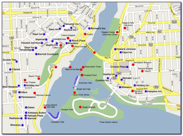map of niagara falls canada hotels and attractions maps