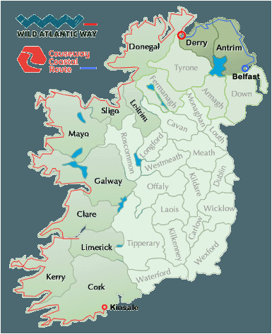 wild atlantic way map ireland in 2019 ireland map ireland