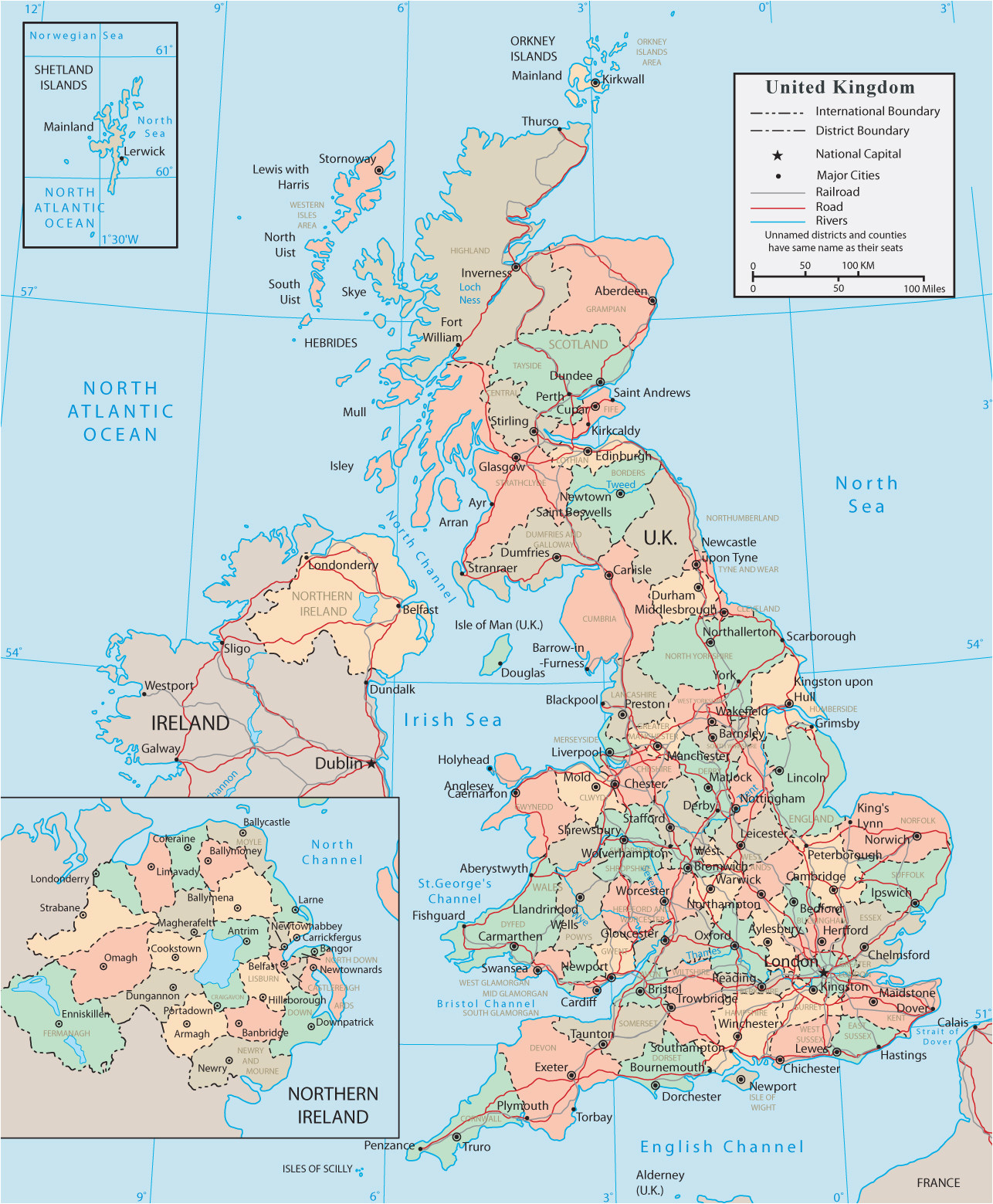 map of ireland and uk and travel information download free map of